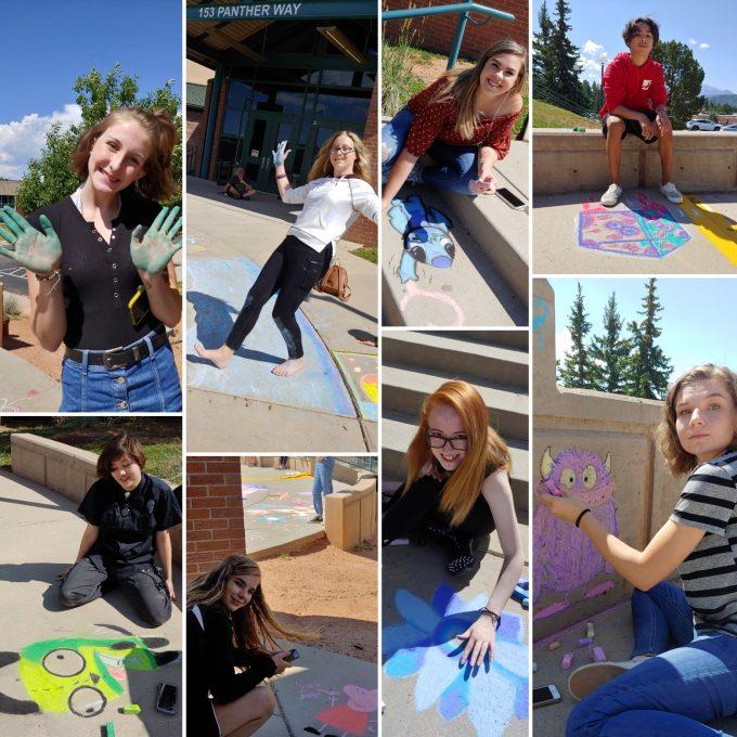 students doing chalk art